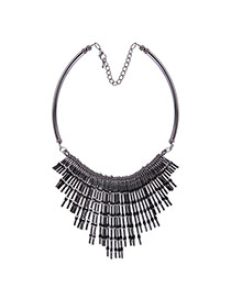Vintage Black Long Rivet Tassel Decorated Collar Necklace