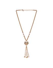 Fashion Gold Color Tassel&heart Shape Pendant Decorated Simple Necklace
