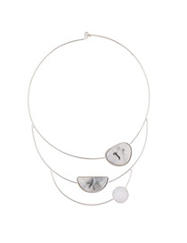 Fashion Silver Color Geometric Stone Decorated Multilayer Necklace