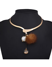 Bohemia Brown Fuzzy Ball&pearl Pendant Decorated Simple Necklace