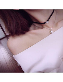 Vintage White Diaomnd Pendant Decorated Double Layer Simple Necklace