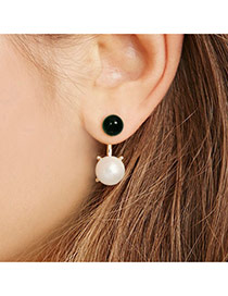 Fashion Gold Color Pearls Decorated Color Matching Simple Earrings