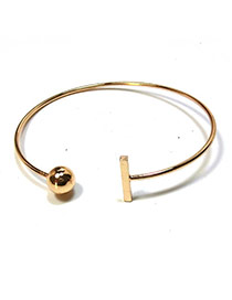 Elegant Gold Color Round Ball&vertical Shape Decorated Pure Color Opening Bracelet