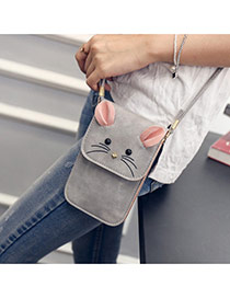 Lovely Gray Mouse Pattern Decorated Square Shape Design Shoulder Bag