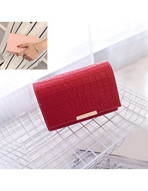 Fashion Red Crocodile Stripe Pattern Decorated Pure Color Magnetic Snap Shoulder Bag