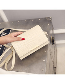 Fashion White Crocodile Stripe Pattern Decorated Pure Color Magnetic Snap Shoulder Bag
