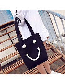 Fashion Black Smiling Face Pattern Decorated Pure Color Simple Shoulder Bag