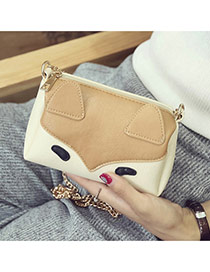 Fashion Brown Fox Pattern Decorated Color Matching Mini Handbag
