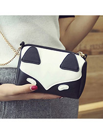 Fashion Black Fox Pattern Decorated Color Matching Mini Handbag