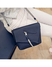 Elegant Black Tassel Pendant Decorated Pure Color Simple Shoulder Bag