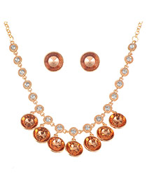 Luxury Red Round Diamond Pendant Decorated Simple Jewelry Sets
