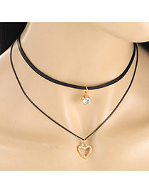 Fashion Black Hollow Out Heart Shape Pendant Decorated Double Layer Neckalce