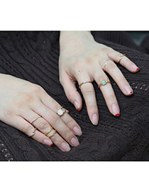 Retro Gold Color Round Shape Decorated Simple Rings(9pcs)