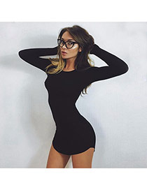 Sexy Black Pure Color Decorated Long Sleeve Irregular Short Dress