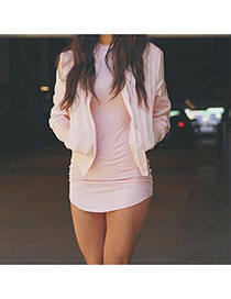 Sexy Pink Pure Color Decorated Long Sleeve Irregular Short Dress