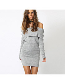 Sexy Gray Off-the-shoulder Decorated Long Sleeve Pure Color Dress