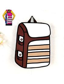 Cute Brown Cartoon 3d Strip Pattern Decorated Simple Backpack