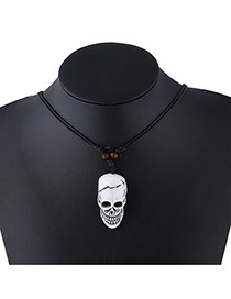 Personality Silver Color Metal Skull Pendant Decorated Simple Neckalce
