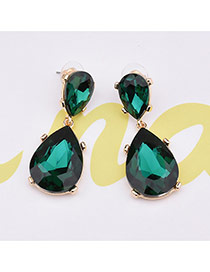 Elegant Green Oval Diamond Shape Pendant Decorated Simple Earrings