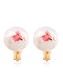 Sweet White Flower &round Shape Decorated Simple Earrings