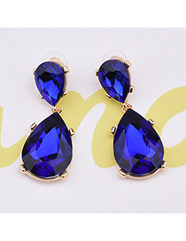 Elegant Blue Oval Diamond Shape Pendant Decorated Simple Earrings