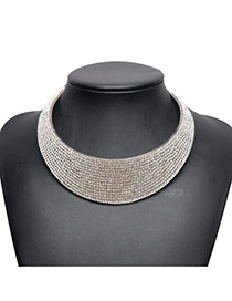 Fashion Silver Color Full Diamond Decorated Wide-brimmed Short Chain Collar Necklace