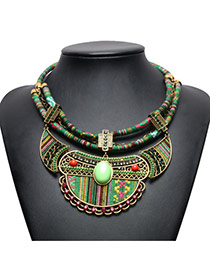 Vintage Green Oval Shape Gemstone Decorated Double Layer Hand-woven Necklace