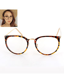 Elegant Tortie Round Frame Decorated Color Matching Glasses