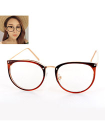 Elegant Brown Round Frame Decorated Color Matching Glasses