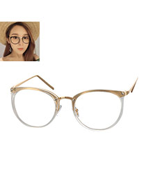 Elegant Gold Color Round Frame Decorated Color Matching Glasses