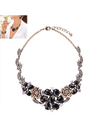 Fashion Black Flower&diamond Decorated Short Chain Necklace