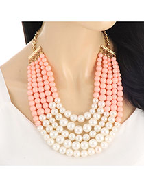 Fashion Pink Pearls Decorated Multi-layer Color Matching Necklace