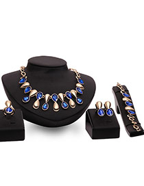 Fashion Blue Water Drop Shape Pendant Decorated Simple Jewelry Sets