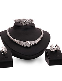 Exaggerated Silver Color Diamond Decorated Irregular Shape Design Jewelry Sets