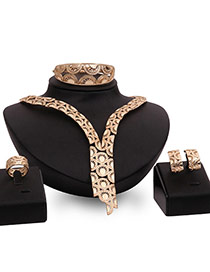 Fashion Gold Color Hollow Out Design Double Layer Simple Jewelry Sets