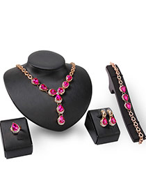 Fashion Gold Color+pink Water Drop Shape Gemstone Decorated Simple Jewelry Sets