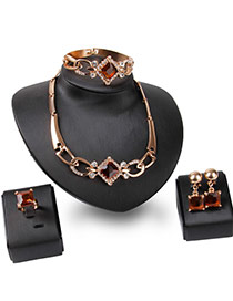 Exaggerated Gold Color+champagne Square Shape Gemstone Decorated Irregular Chian Jewelry Sets