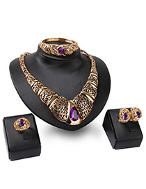 Fashion Purple Water Drop Shape Gemstone Decorated Hollow Out Design Jewelry Sets
