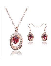 Fashion Red Oval Shape Diamond Pendant Decorated Simple Jewelry Sets (2pcs)