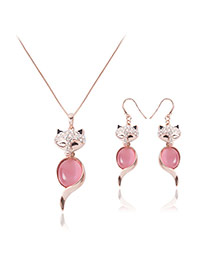 Fashion Pink Oval Shape Diamond Pendant Decorated Fox Shape Jewelry Sets (2pcs)