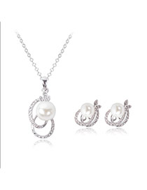 Fashion Silver Color Big Pearls Decorated Double Round Shape Simple Jewelry Sets (2pc)