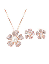Fashion Gold Color+white Pearl&diamond Decorated Flower Shape Jewelry Sets (2pcs)