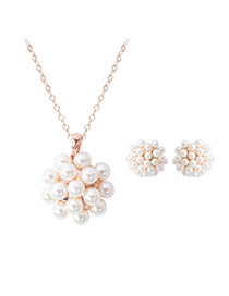 Fashion Gold Color+white Pearls Decorated Flower Shape Jewelry Sets (2pcs)