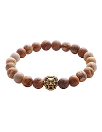 Vintage Brown Lion Pattern Decorated Pure Color Buddha Beads Bracelet