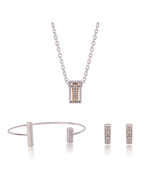 Fashion Gold Color Diamond Decorated Square Shape Simple Jewelry Sets (3pcs)