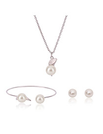 Fashion Gold Color Pearls&diamond Decorated Simple Jewelry Sets (3pcs)