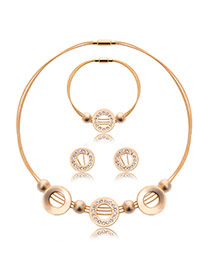 Fashion Gold Color Hollow Out Round Shape Decorated Multi-layer Jewelry Sets (3pcs)