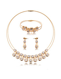 Fashion Gold Color Diamond Decorated Double Layer Jewelry Sets (3pcs)