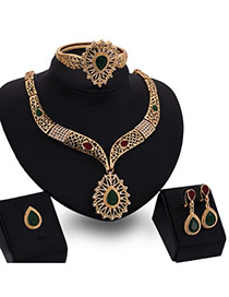 Fashion Gold Color Water Drop Shape Diamond Decorated Hollow Out Jewelry Sets (4pcs)