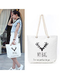 Lovely White Deer Head Pattern Decorated Square Shape Canvas Bag